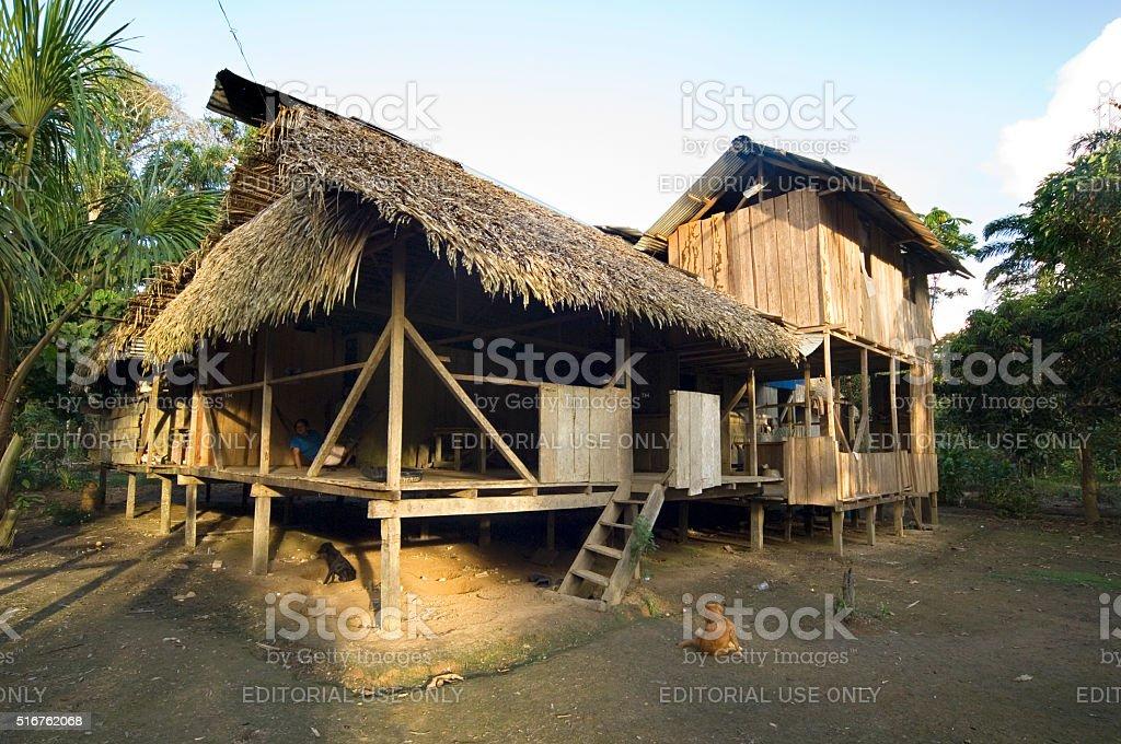 House in Ecuador Rainforest stock photo