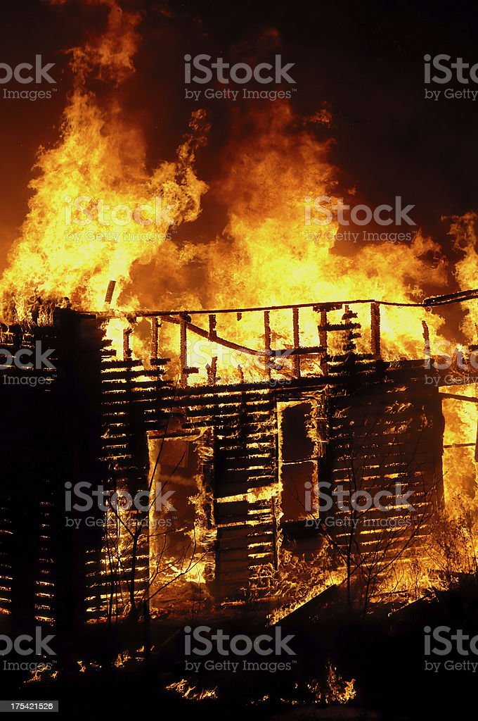 House in flames royalty-free stock photo