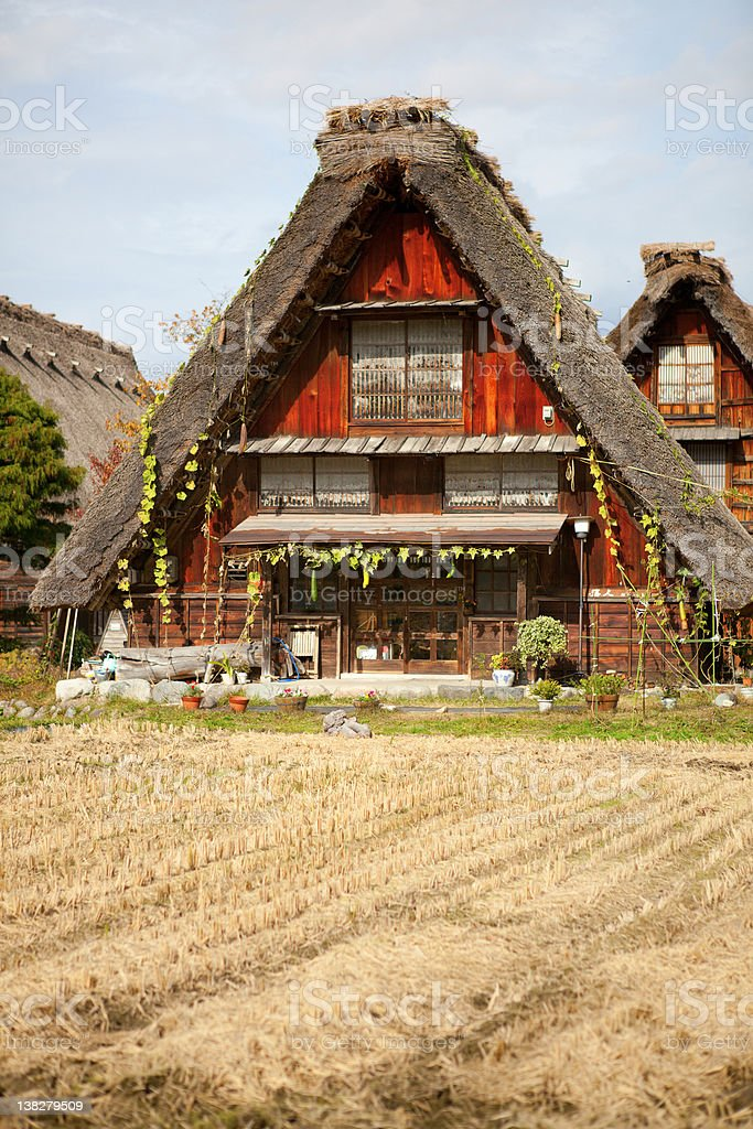 House in historic village Shirakawa-go, Gifu prefecture, Japan stock photo