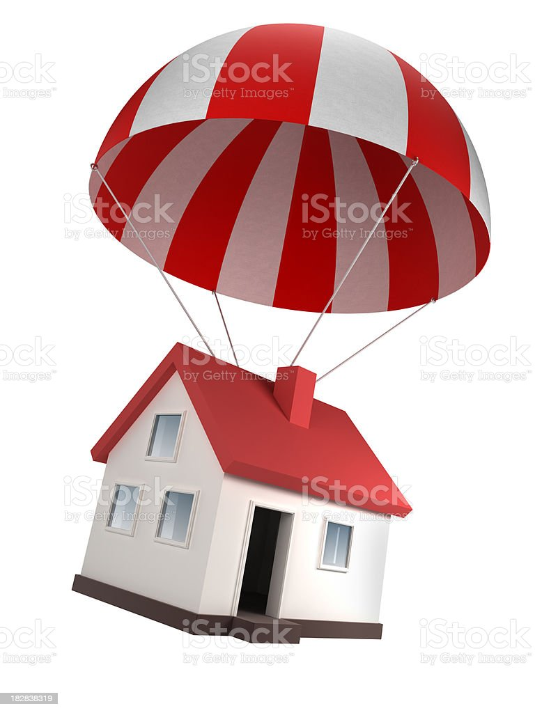 House in parachute - isolated on white with clipping path royalty-free stock photo
