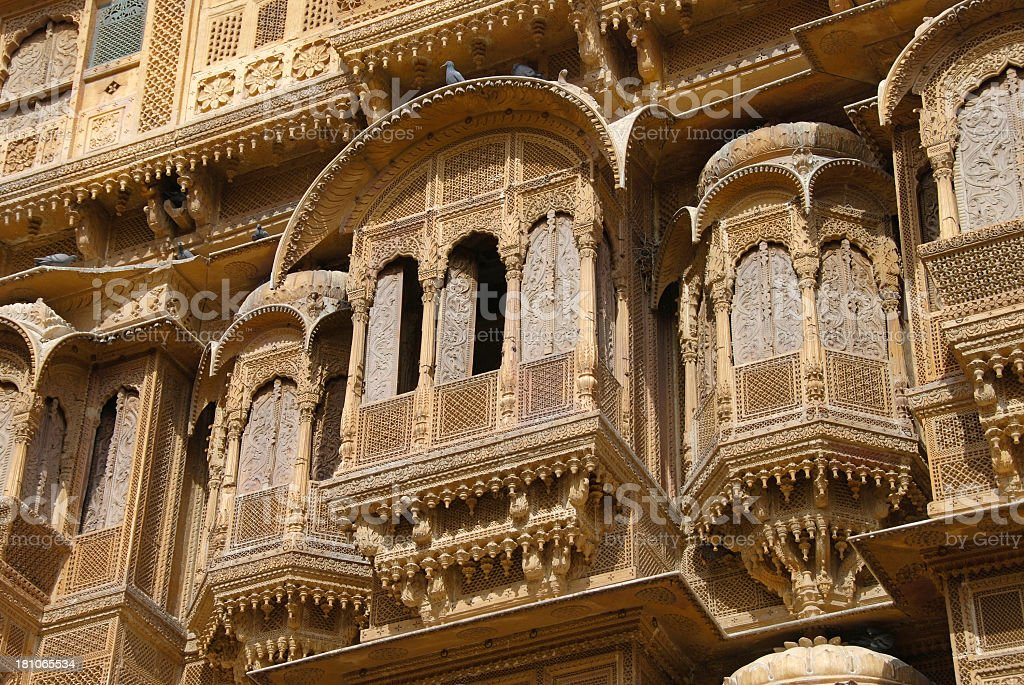 House in Patwa Haveli in Jaisalmer, Rajasthan, India stock photo