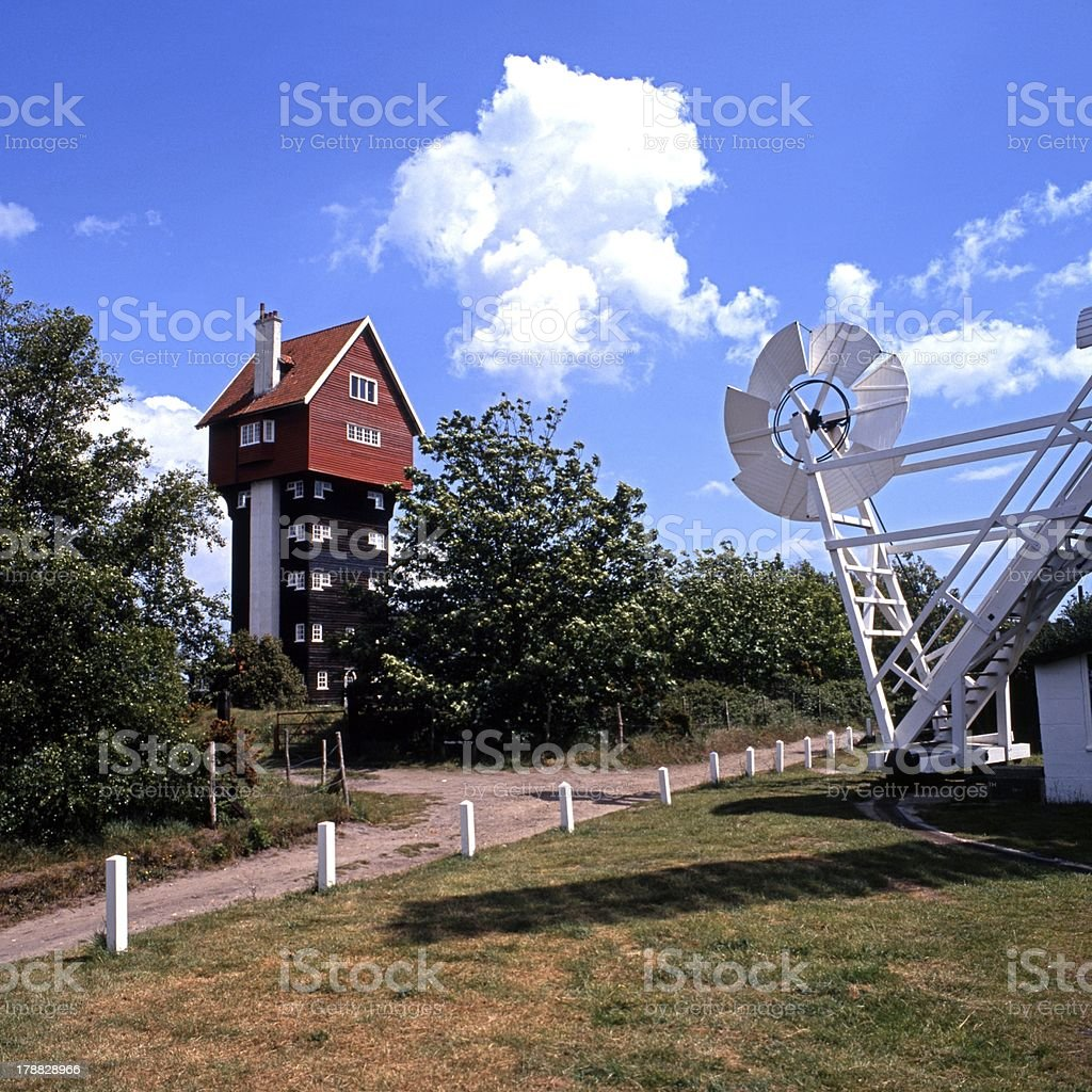House in the clouds, Thorpness, England. royalty-free stock photo