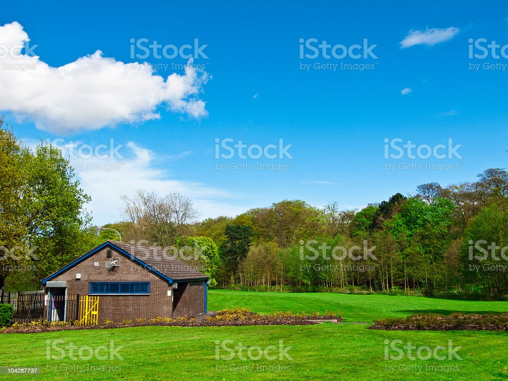 house in the park stock photo