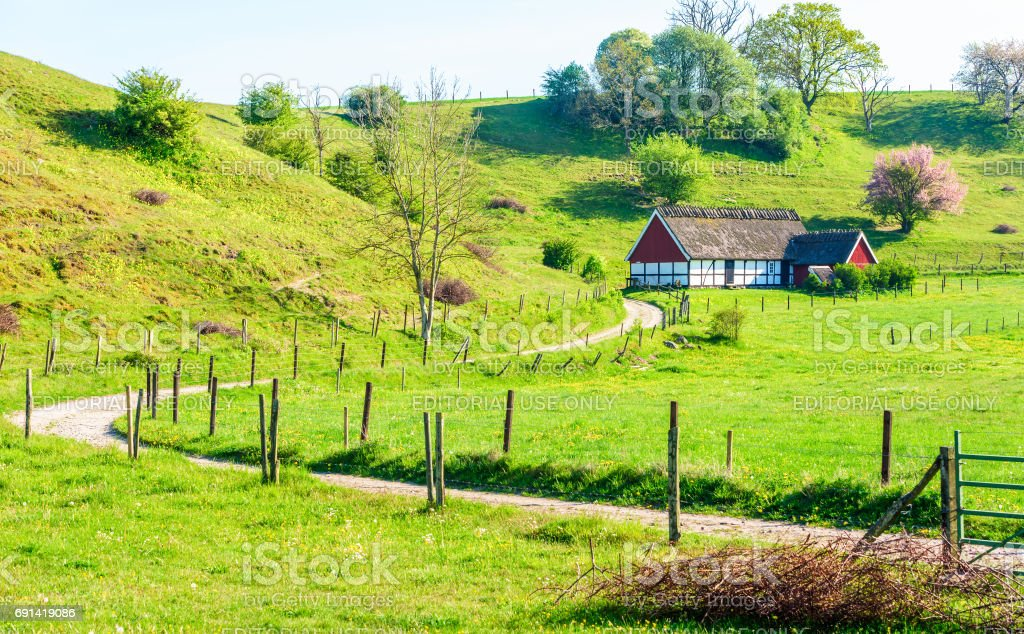 House in the valley stock photo