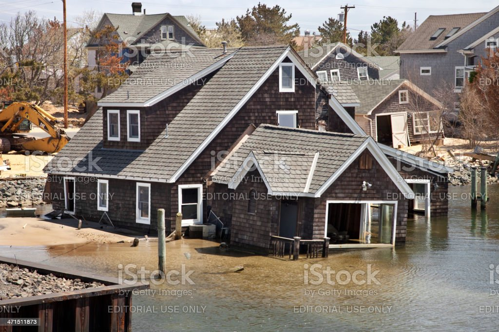 House in water at the  Jersey Shore after Super Storm stock photo
