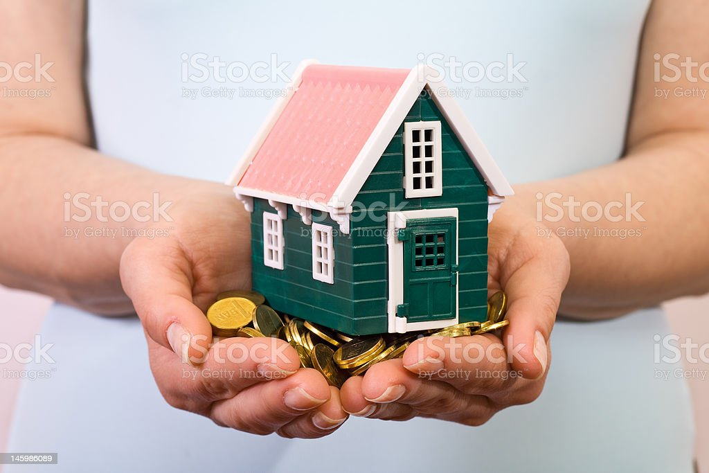House in woman hands royalty-free stock photo