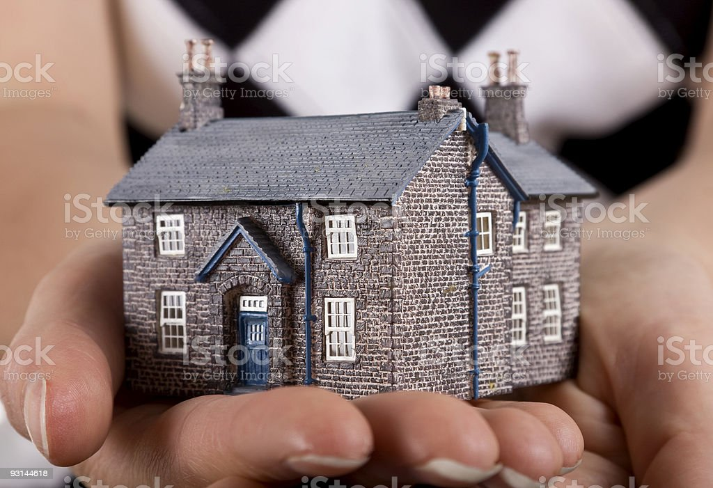 House in womans hand royalty-free stock photo