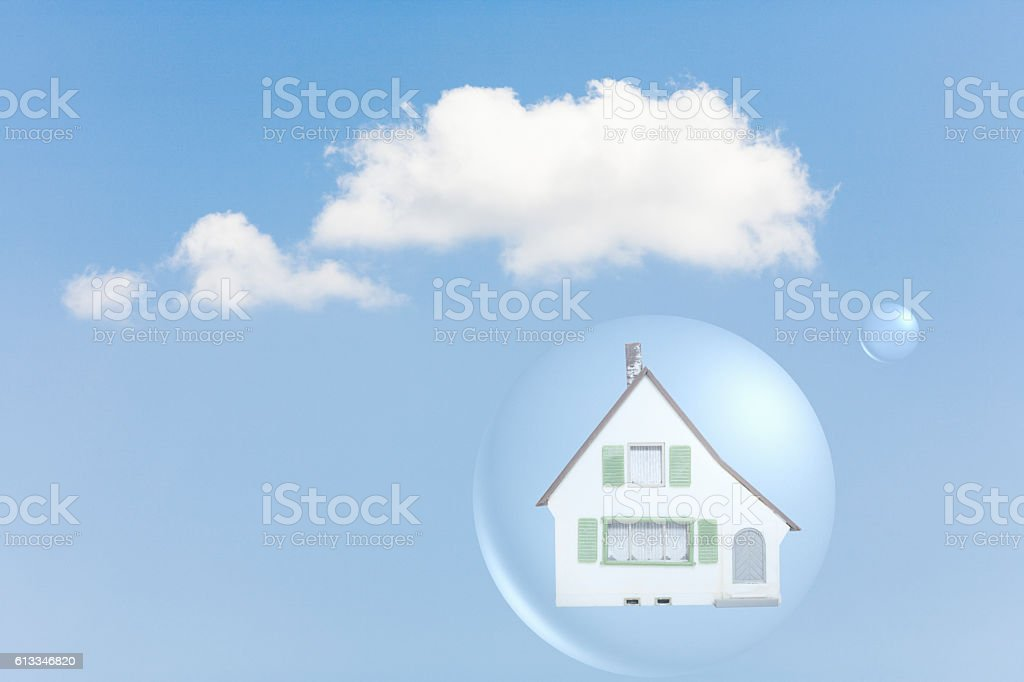 House inside air bubble stock photo