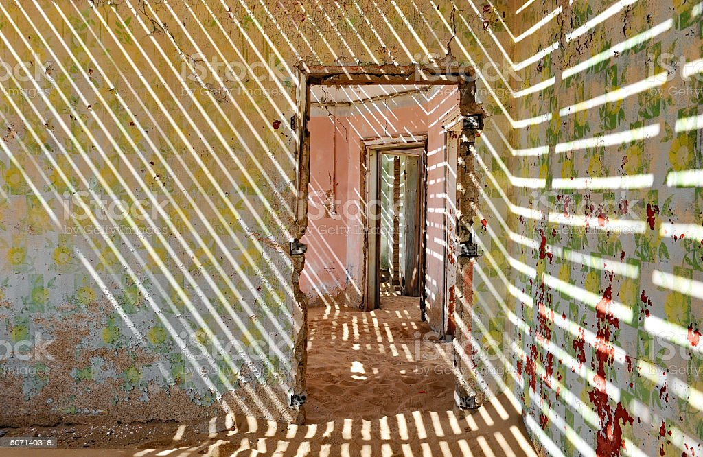 House interior in the ghost Town Kolmanskop, Namibia stock photo