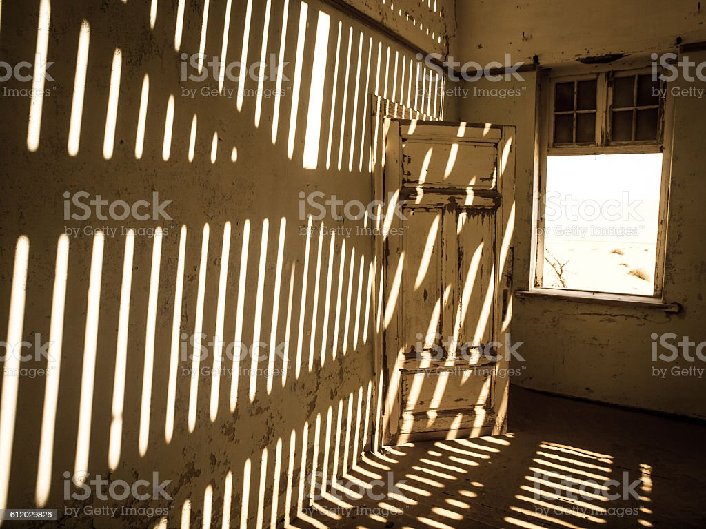 House interior in the namibian ghost town of Kolmanskop stock photo