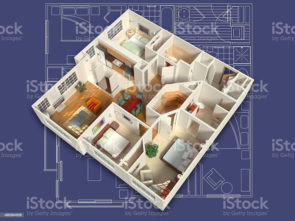 3D House Interior Isometric stock photo