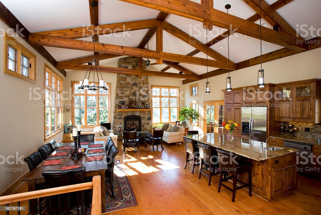 House Interior Showing Kitchen , Living and Dining Areas. stock photo