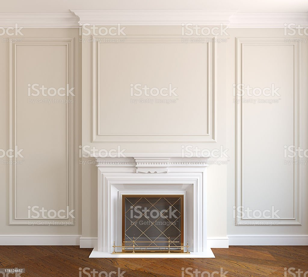 House interior with fireplace and wooden floors stock photo