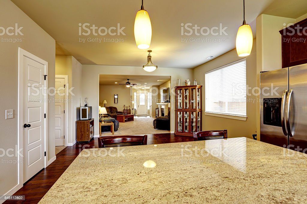 House interior with Open floor plan stock photo
