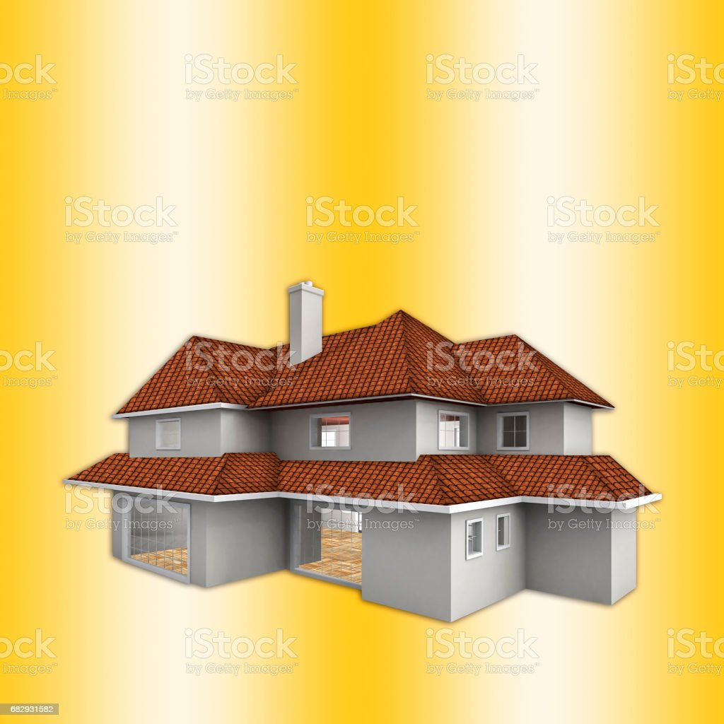 House isolated against the gold background. Real estate concept. 3d vector art illustration