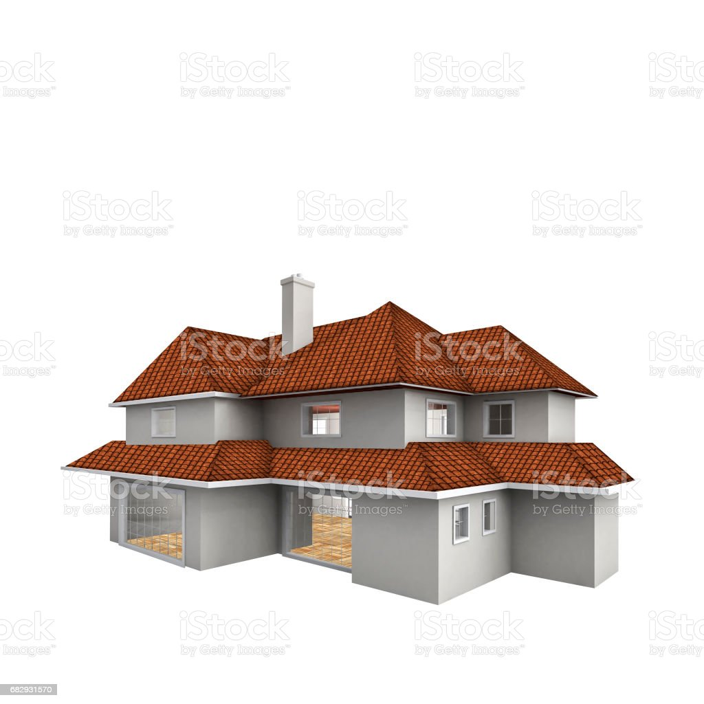 House isolated against the white background. Real estate concept. 3d vector art illustration