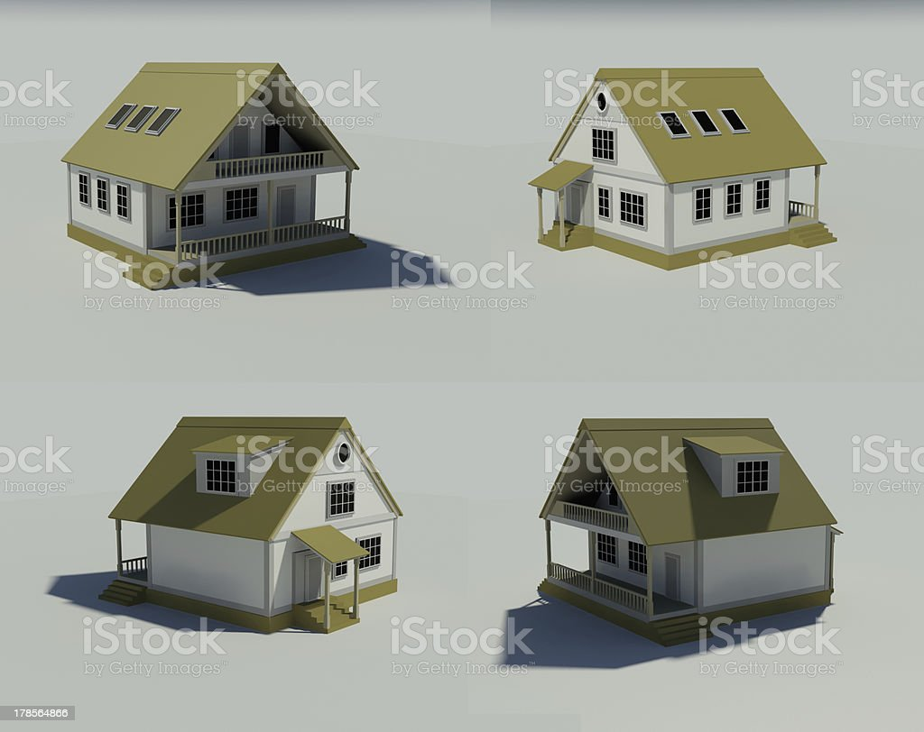 house isolated on white rendered generic royalty-free stock photo