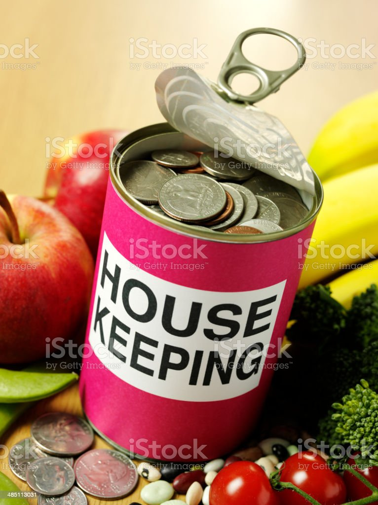 House Keeping Savings in Tin Can with Fruit and Vegetables royalty-free stock photo