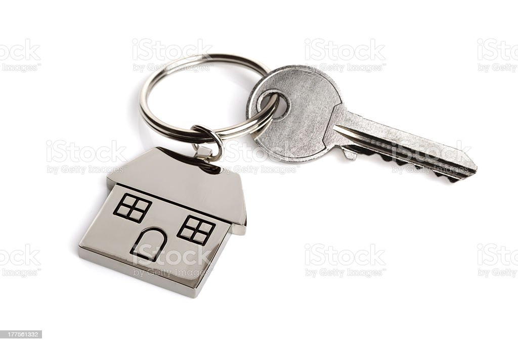 House key on keyring stock photo