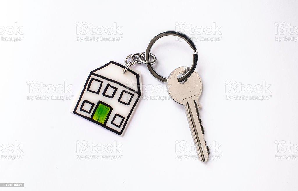 House key symbol isolated on white background stock photo