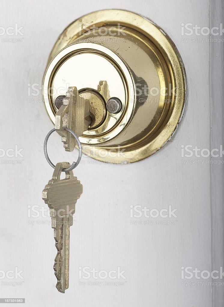 House Keys in Door Lock royalty-free stock photo