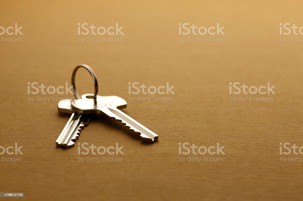 House keys on a table stock photo