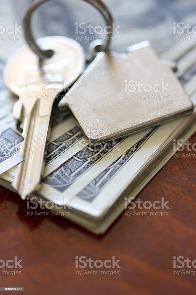 House keys on dollar royalty-free stock photo