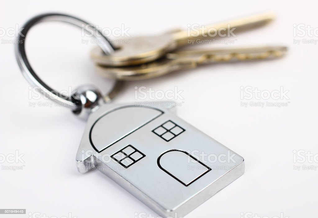 House keys with house figure stock photo