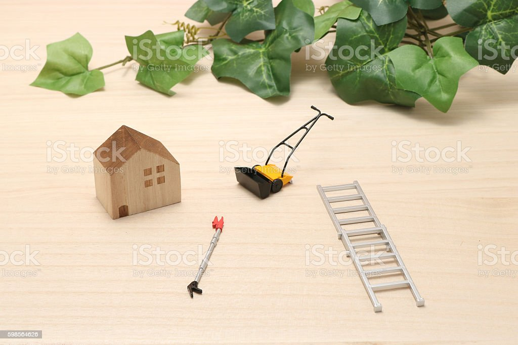 House, ladder, high branch pruning shears, and lawn mower. stock photo