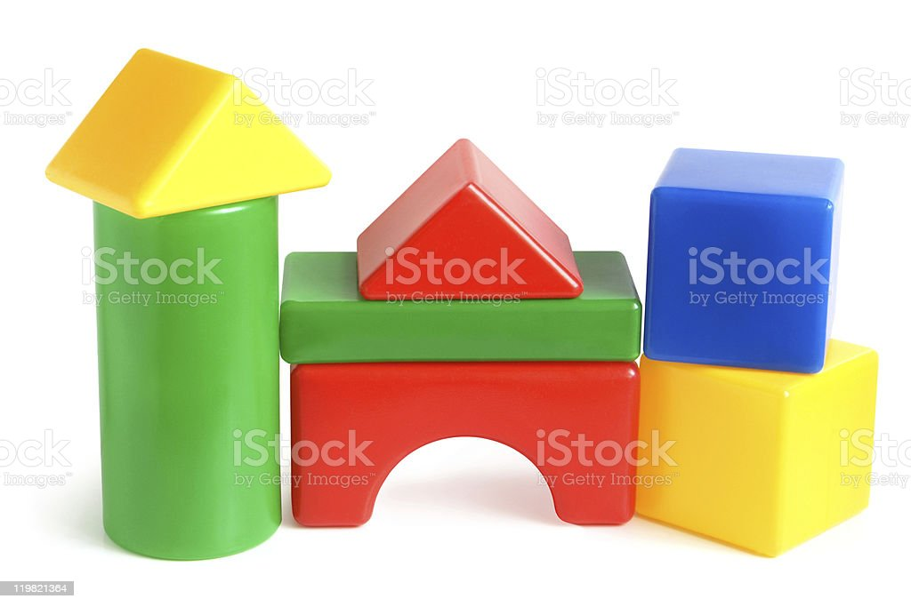 House made from children's plastic building blocks royalty-free stock photo