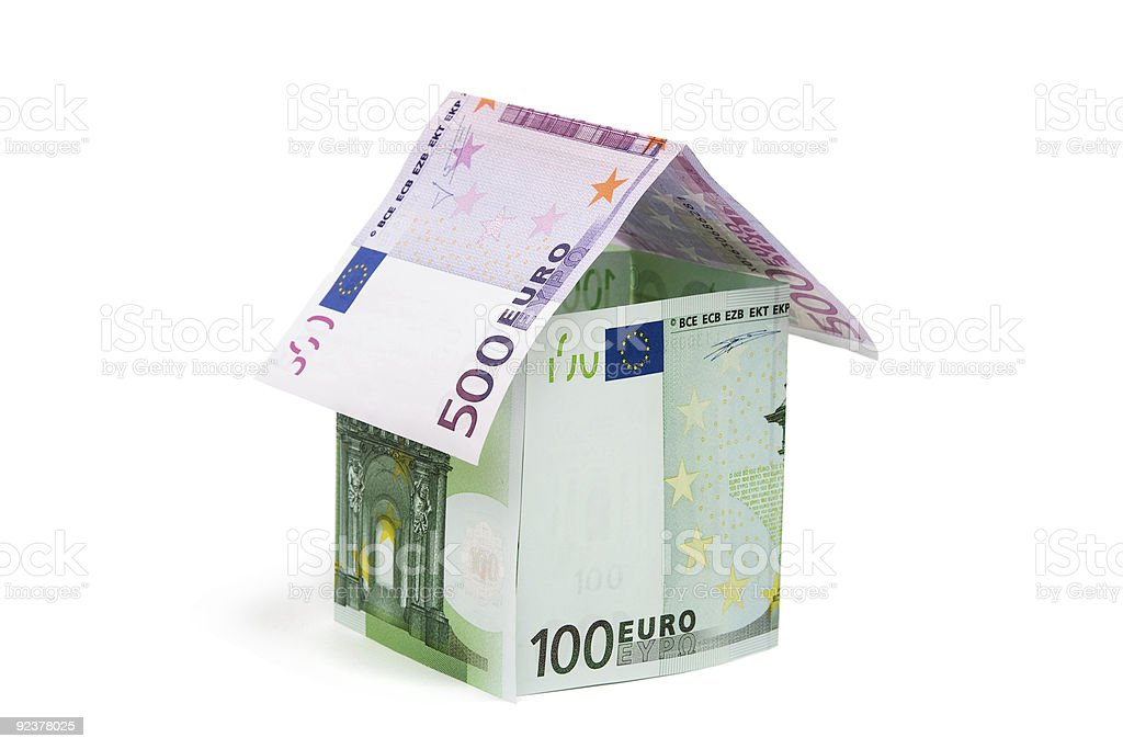 House made from euro bills royalty-free stock photo
