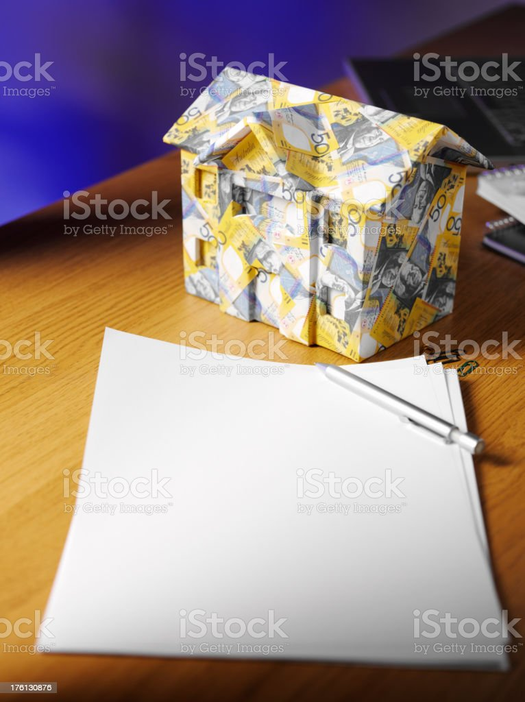 House made of Australian dollars and Documents royalty-free stock photo