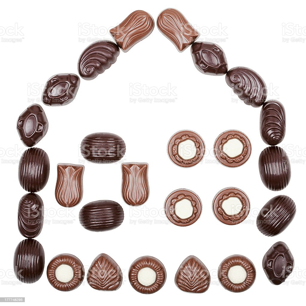 House made of chocolate candies royalty-free stock photo