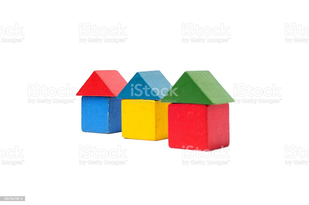 House made of old cubes. stock photo