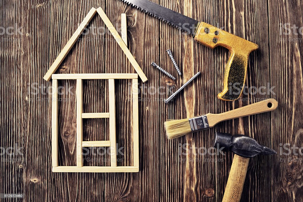 House made of wooden sticks stock photo