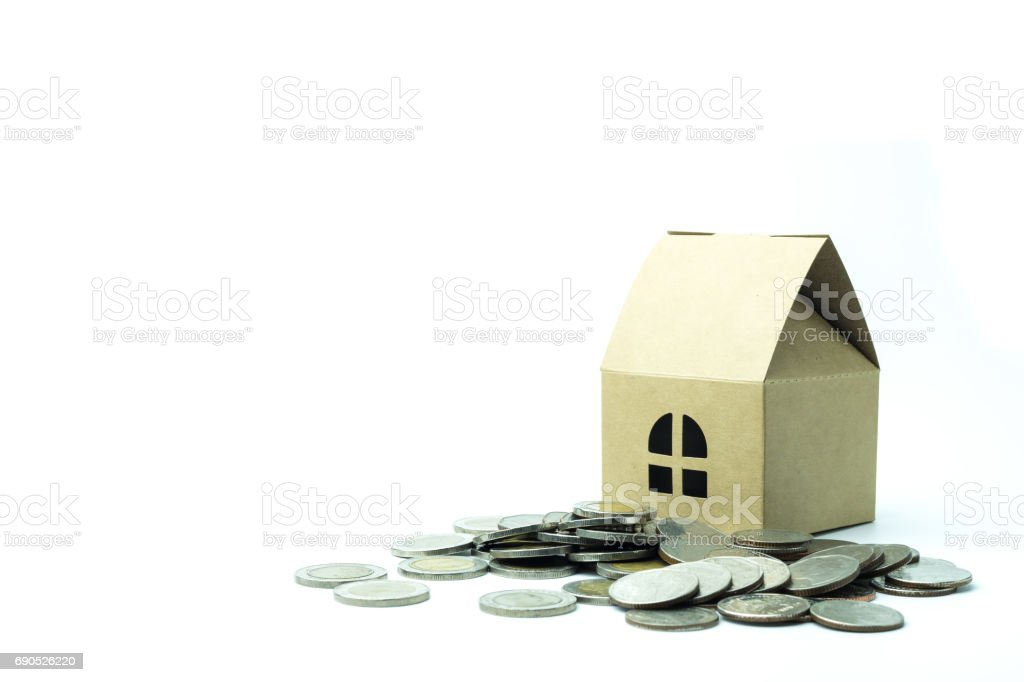 house model and row of coins money finance and banking concept. stock photo
