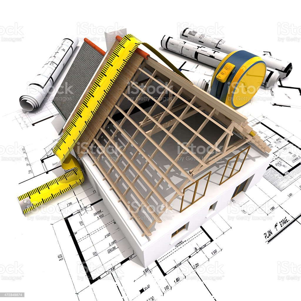 House model open roof and measure tape stock photo
