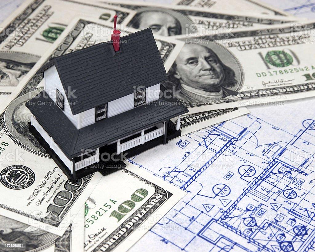 House, Money and Blueprint royalty-free stock photo