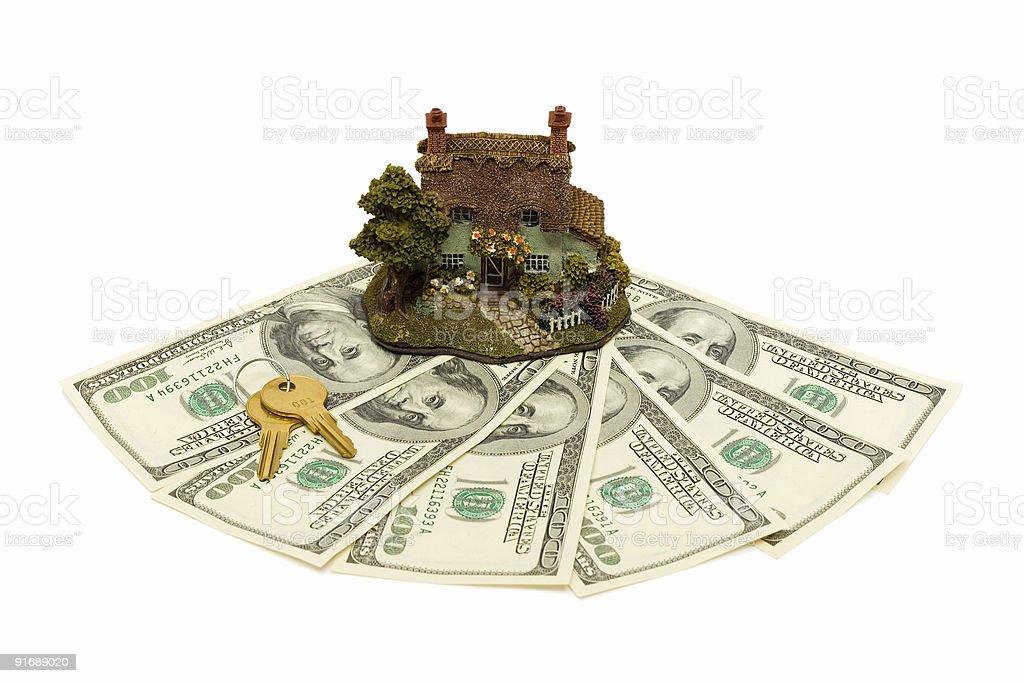 House, money and keys royalty-free stock photo