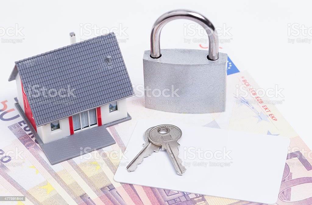 House money padlock card stock photo