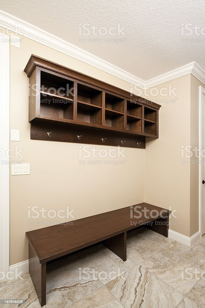 House Mudroom Bench and Storage Cubby stock photo