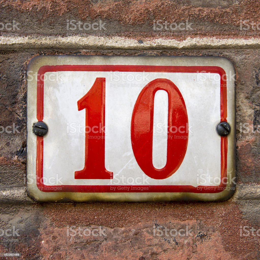 House number 10 stock photo