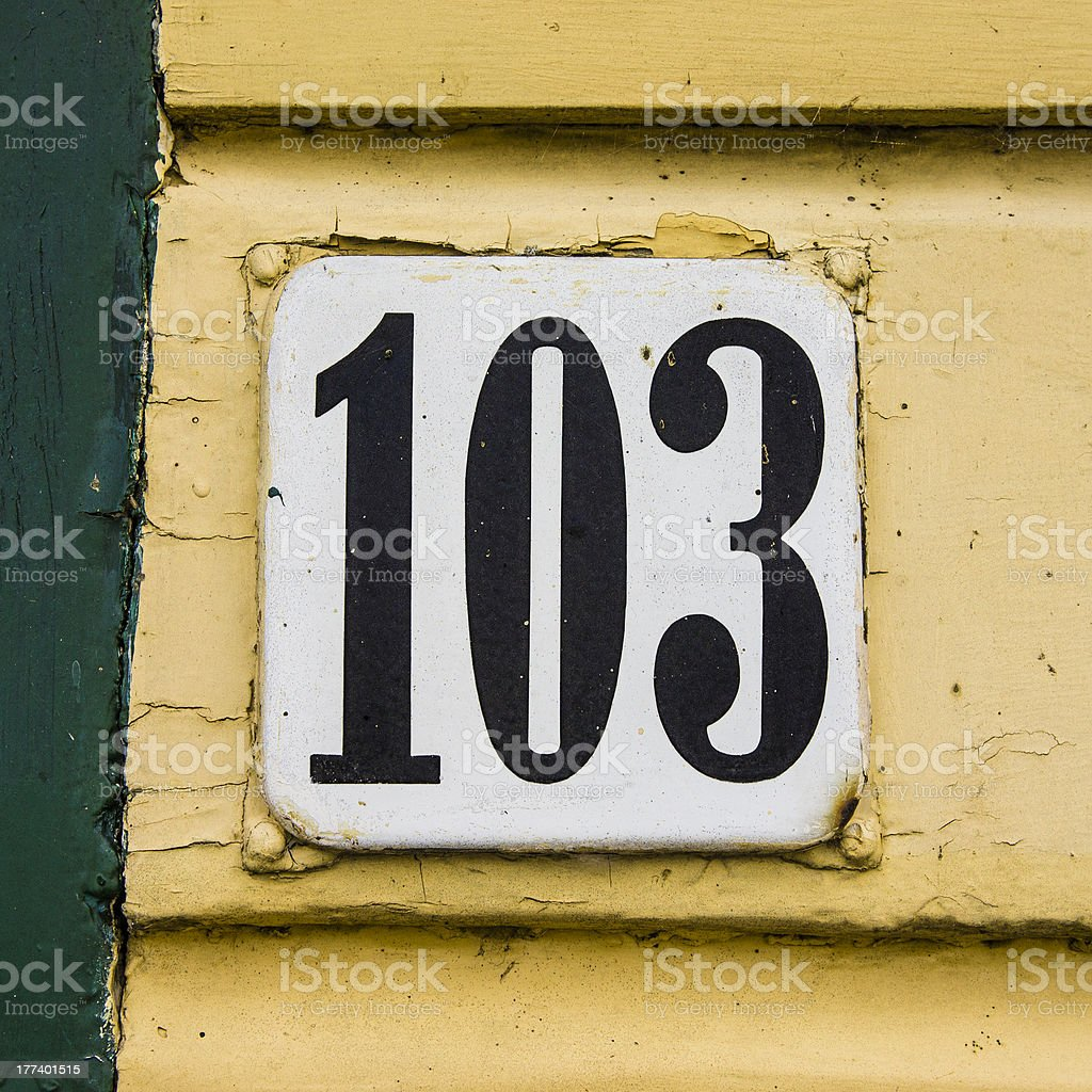 House number 103 stock photo