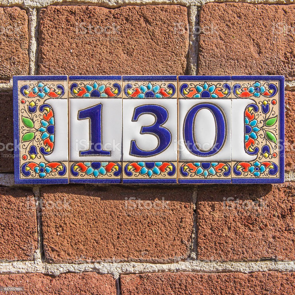 House number 130 stock photo