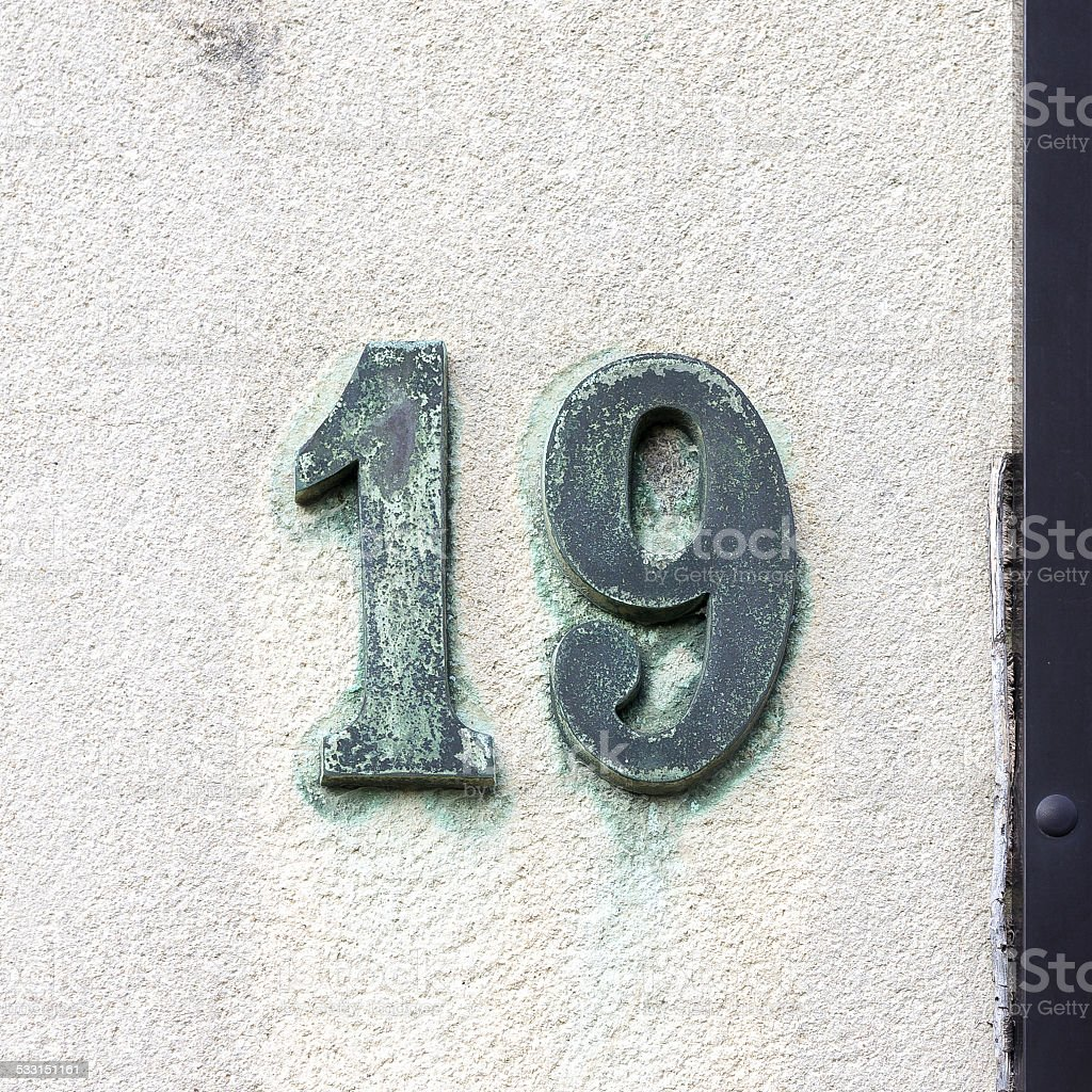 House number 19 stock photo