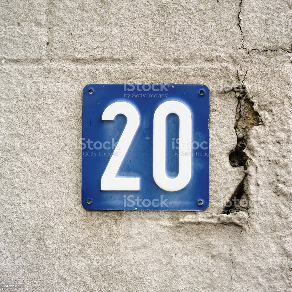 House number 20 stock photo