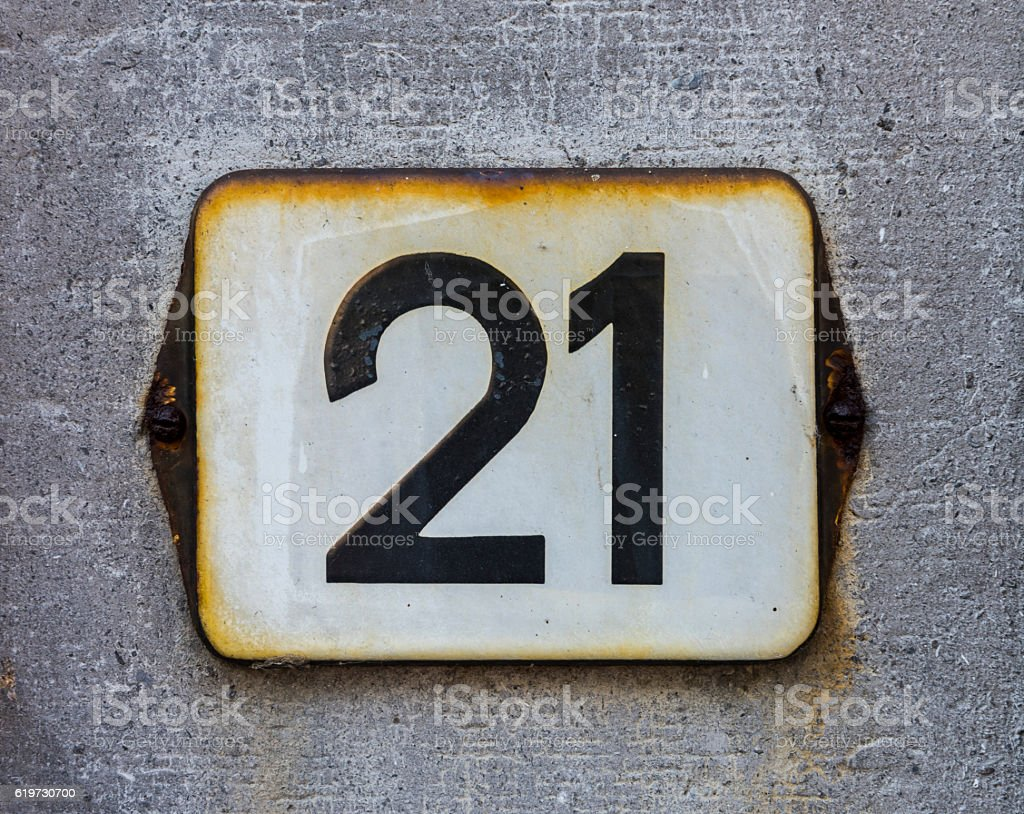 House number 21 stock photo