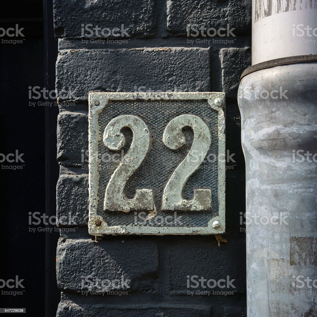 House number 22 stock photo