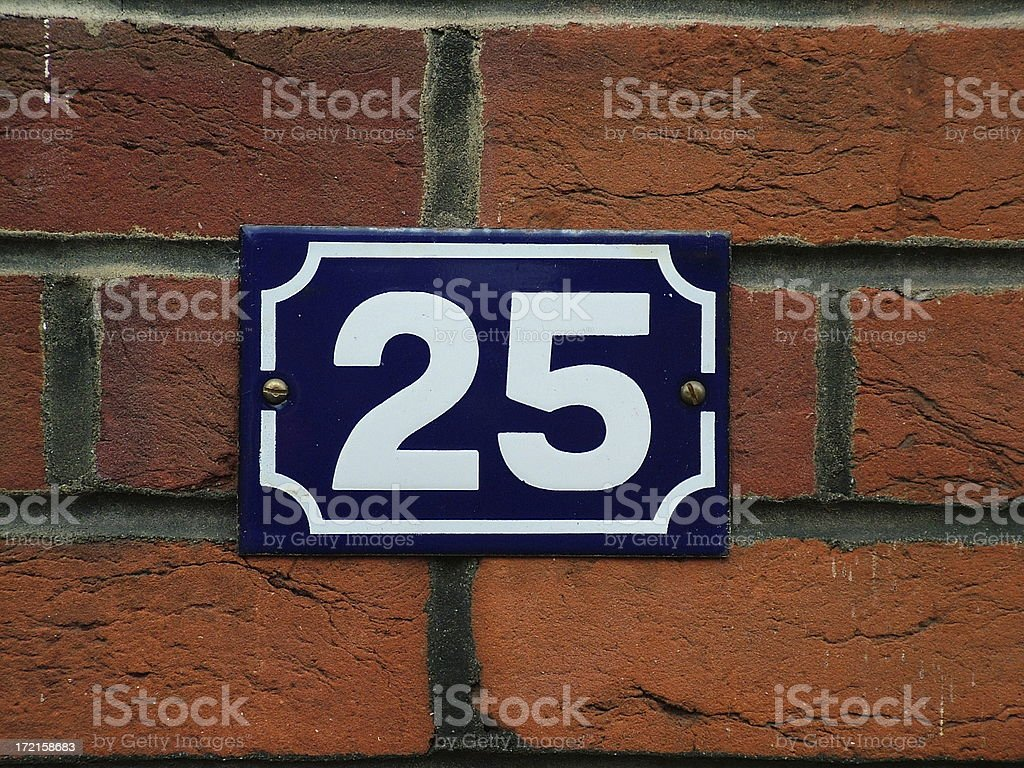 House number 25 royalty-free stock photo