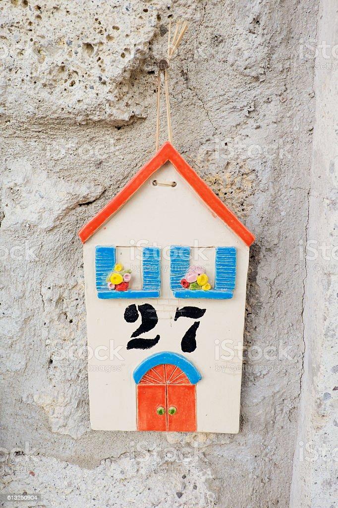 House Number 27 is on Wall, Alacati, Turkey stock photo